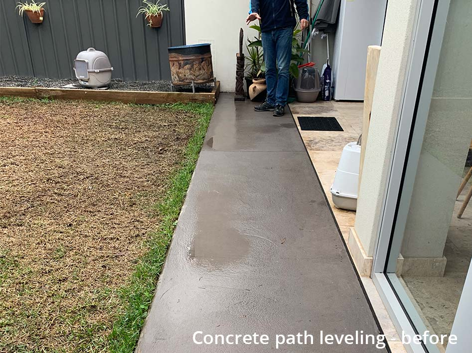 concrete path leveling - before